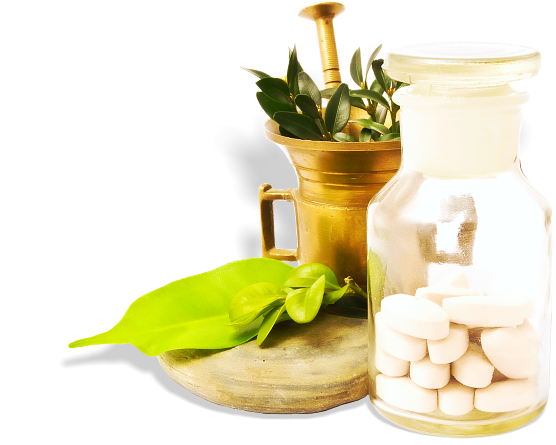 herbal plant and a bottle of medicines