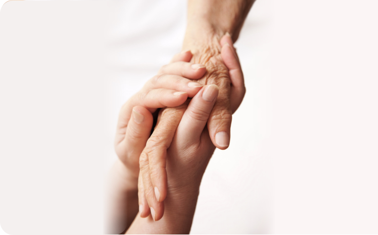 old and young holding hands closeup picture